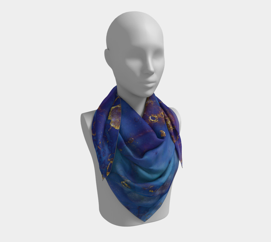 Watercolor Swirls E - Blue & Gold, Square Scarf 3D preview