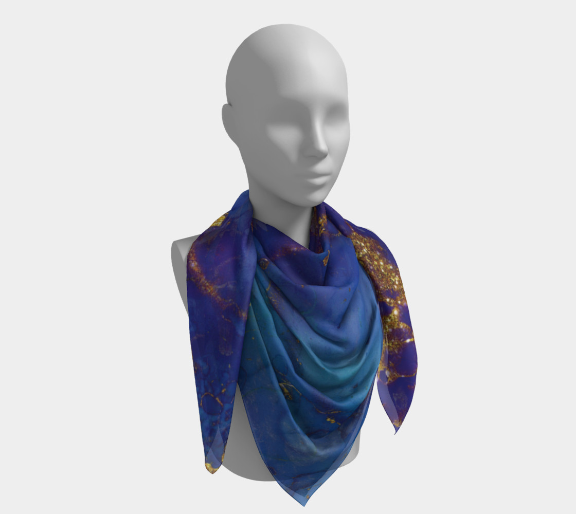 Watercolor Swirls E - Blue & Gold, Square Scarf preview #4
