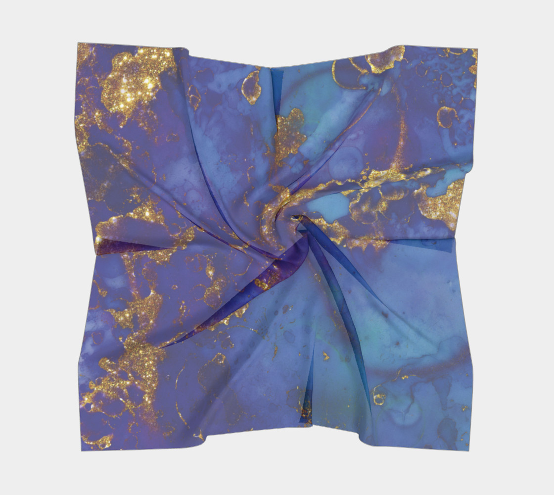 Watercolor Swirls E - Blue & Gold, Square Scarf preview #5