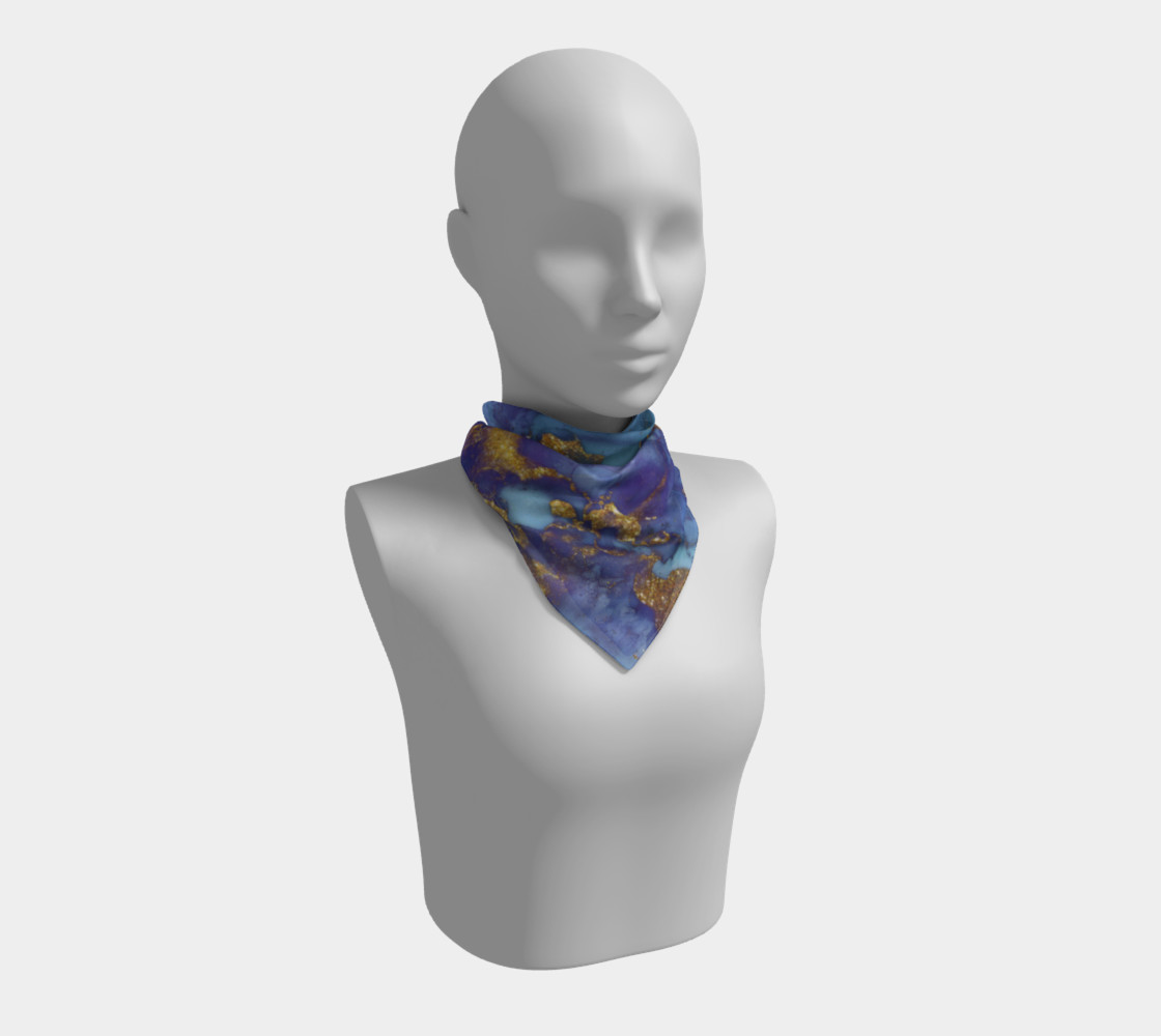 Watercolor Swirls F - Blue & Gold, Square Scarf preview #1