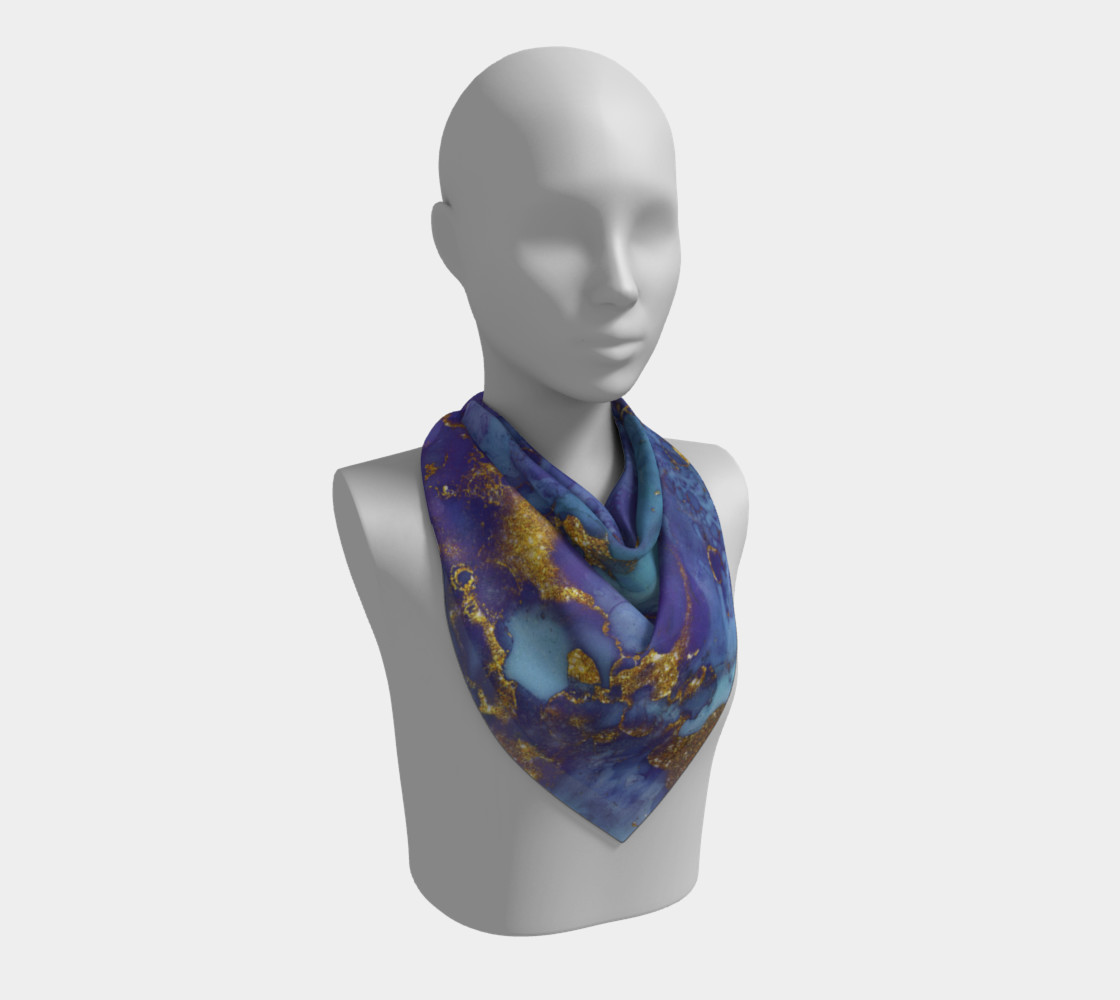 Watercolor Swirls F - Blue & Gold, Square Scarf preview #2