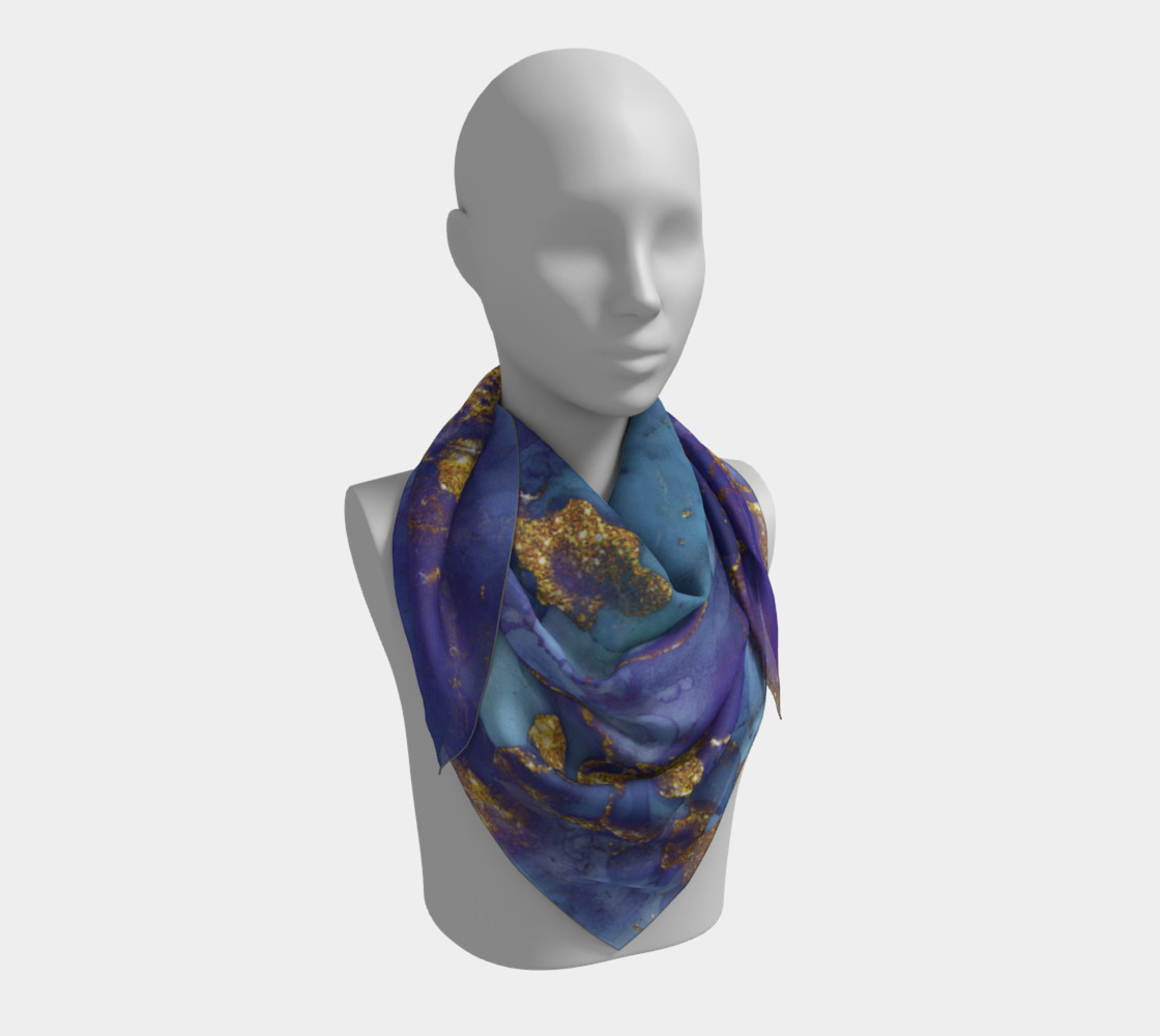 Watercolor Swirls F - Blue & Gold, Square Scarf preview #3