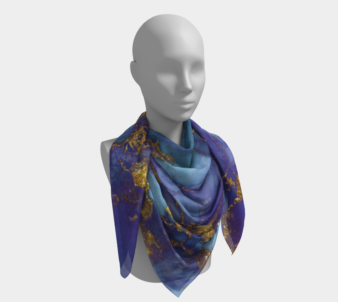 Watercolor Swirls F - Blue & Gold, Square Scarf preview #4
