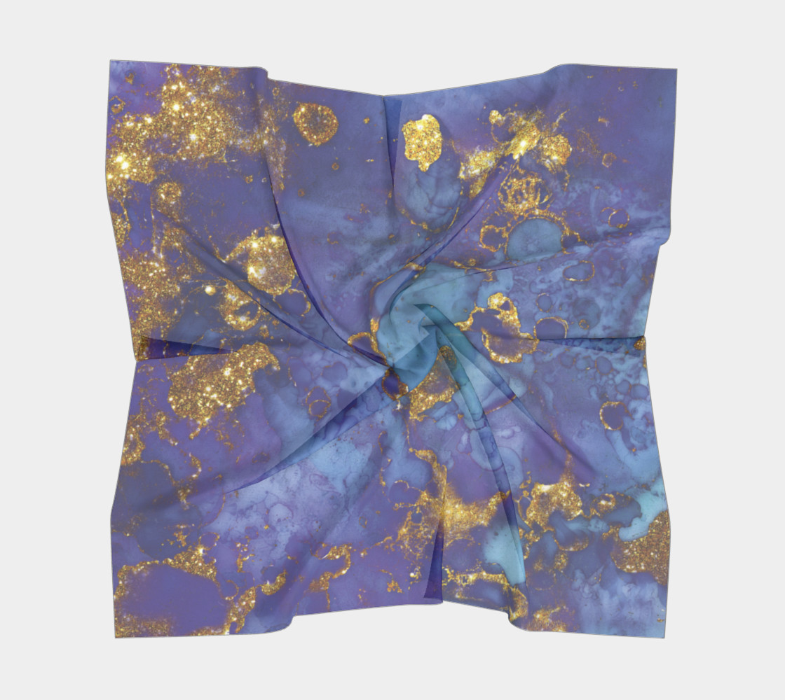 Watercolor Swirls F - Blue & Gold, Square Scarf preview #5