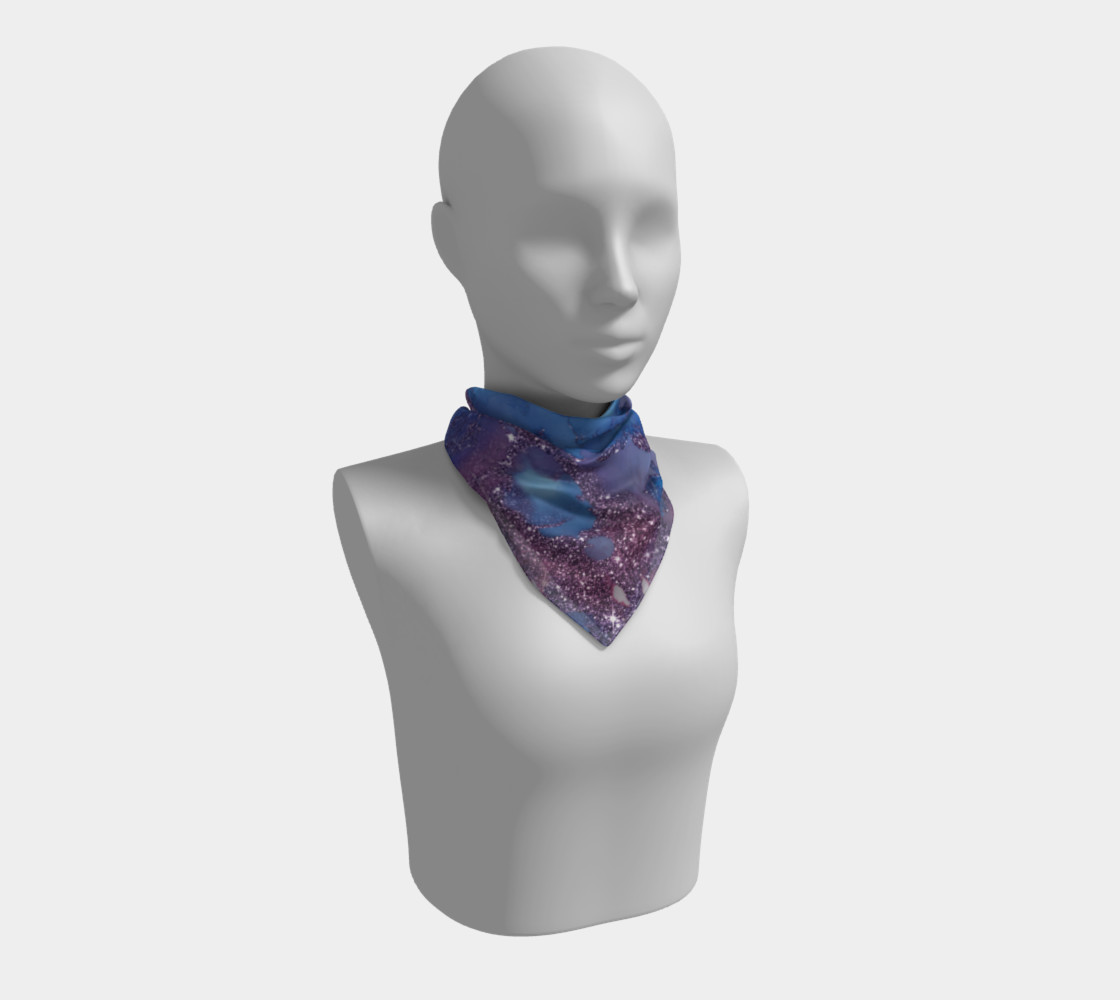 Watercolor Swirls J - Blue & Purple Sparkles, Square Scarf thumbnail #2