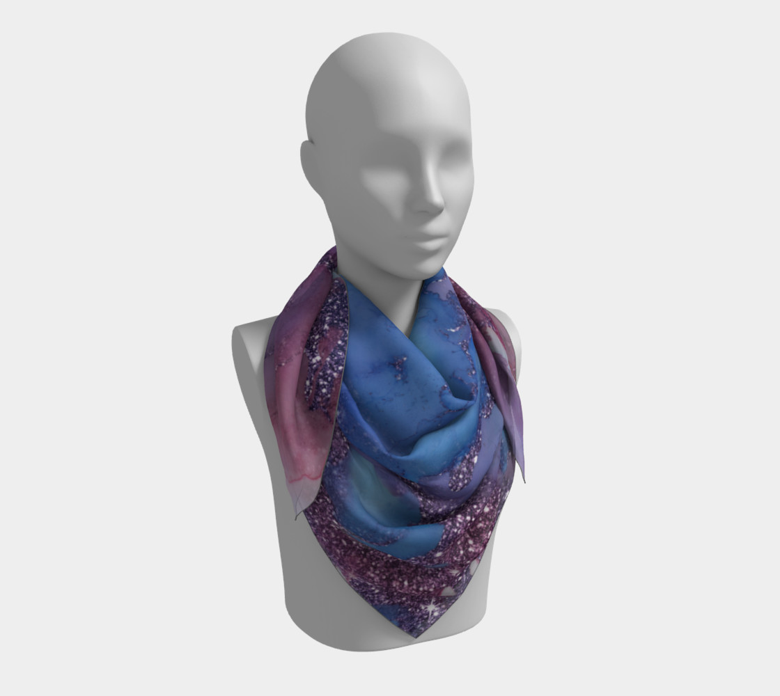 Watercolor Swirls J - Blue & Purple Sparkles, Square Scarf preview #3