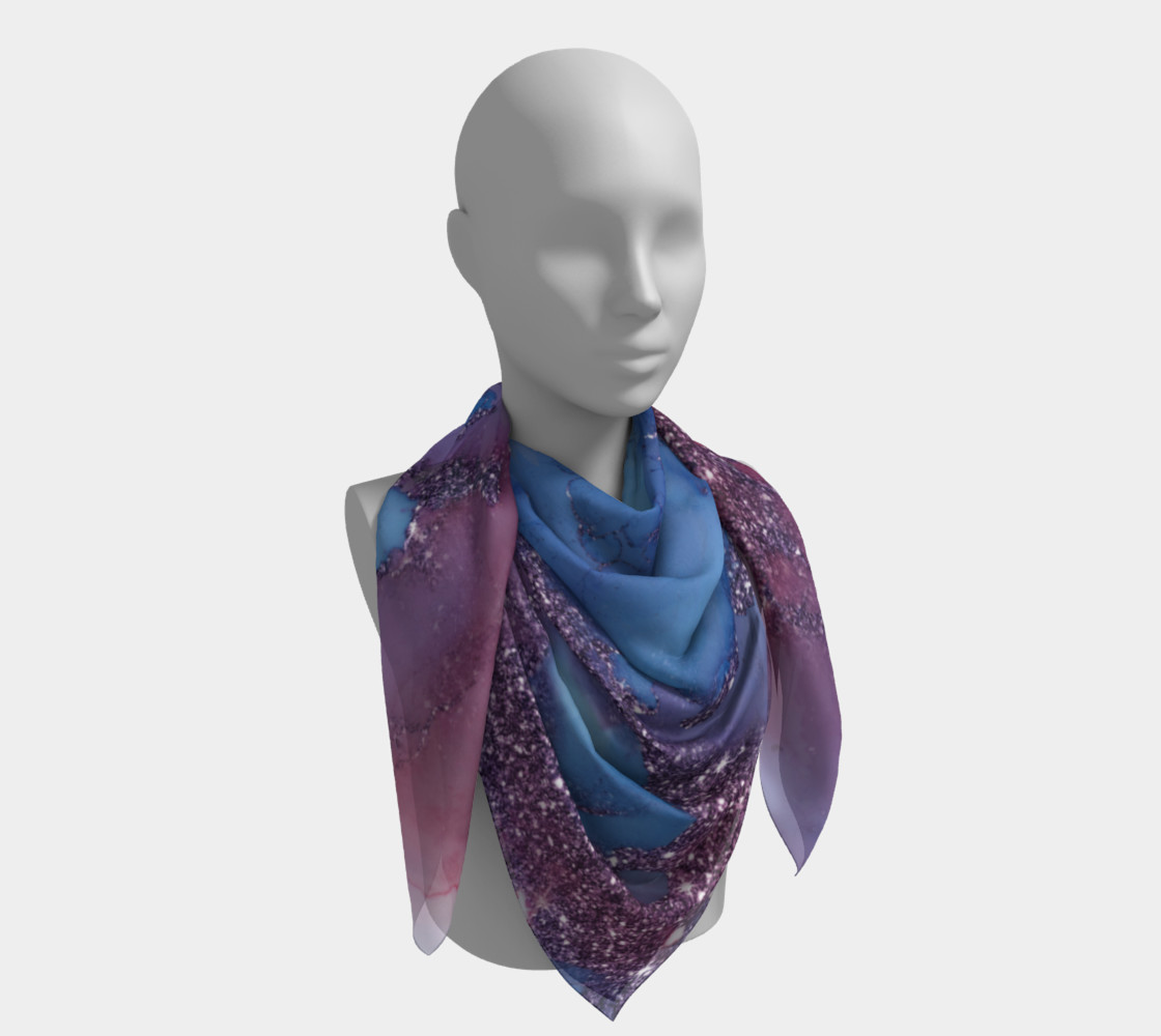 Watercolor Swirls J - Blue & Purple Sparkles, Square Scarf preview #4