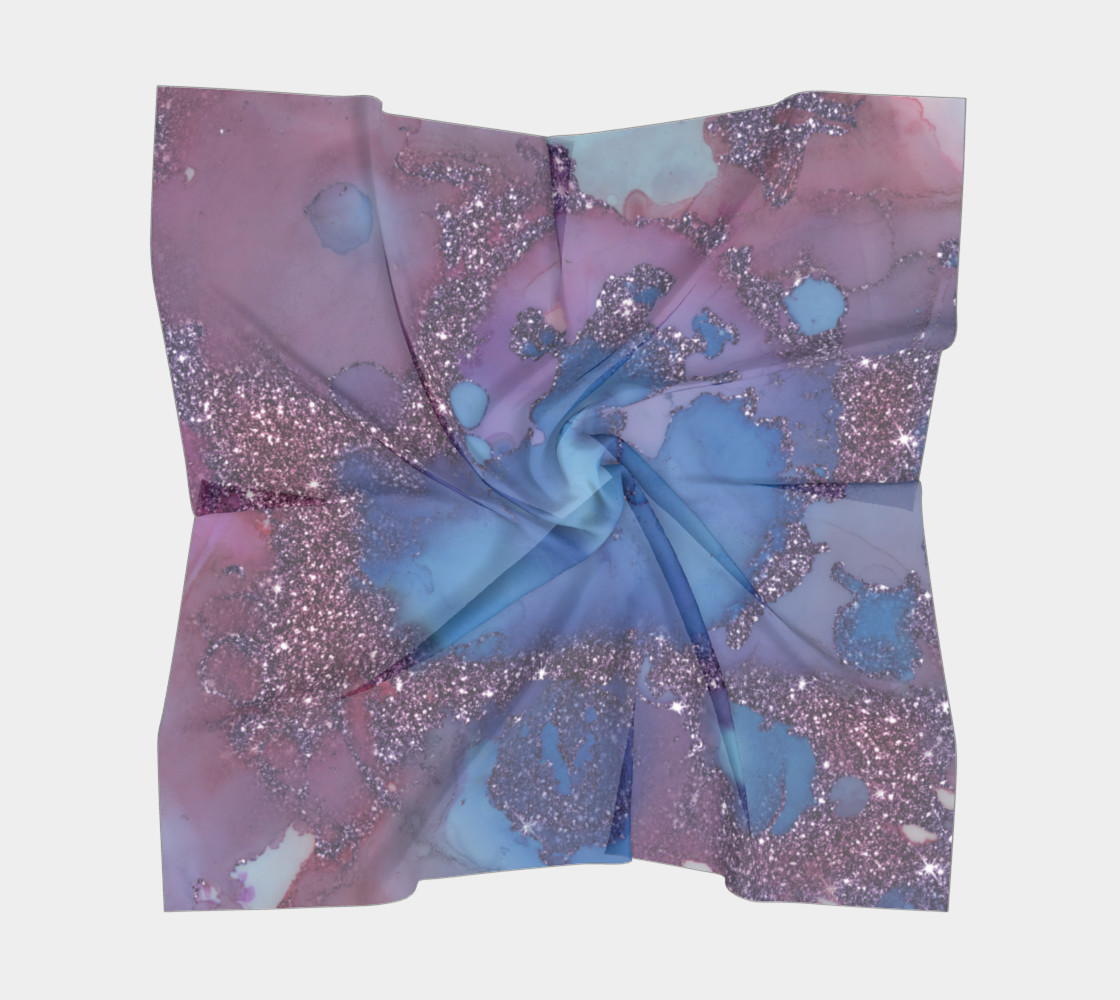Watercolor Swirls J - Blue & Purple Sparkles, Square Scarf thumbnail #6