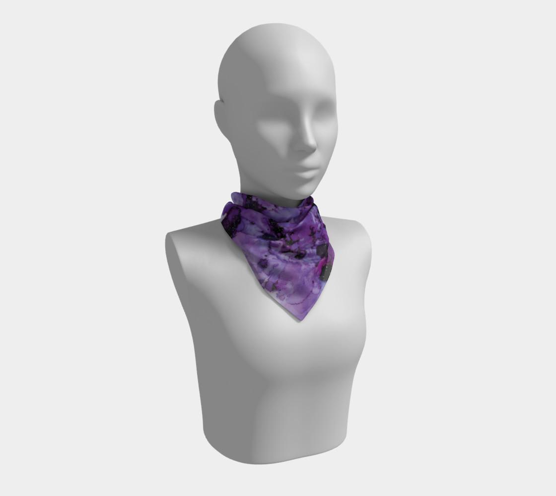 Watercolor Swirls L - Purple & Black,  Square Scarf preview #1