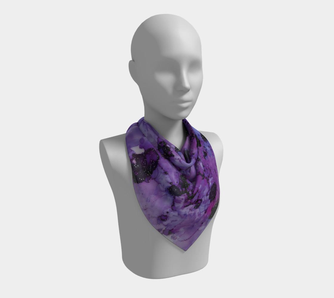 Watercolor Swirls L - Purple & Black,  Square Scarf preview #2
