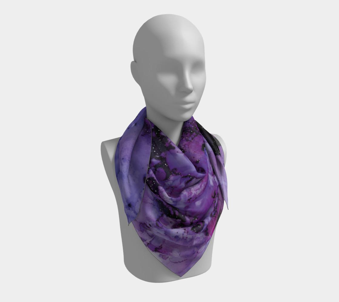 Watercolor Swirls L - Purple & Black,  Square Scarf preview #3