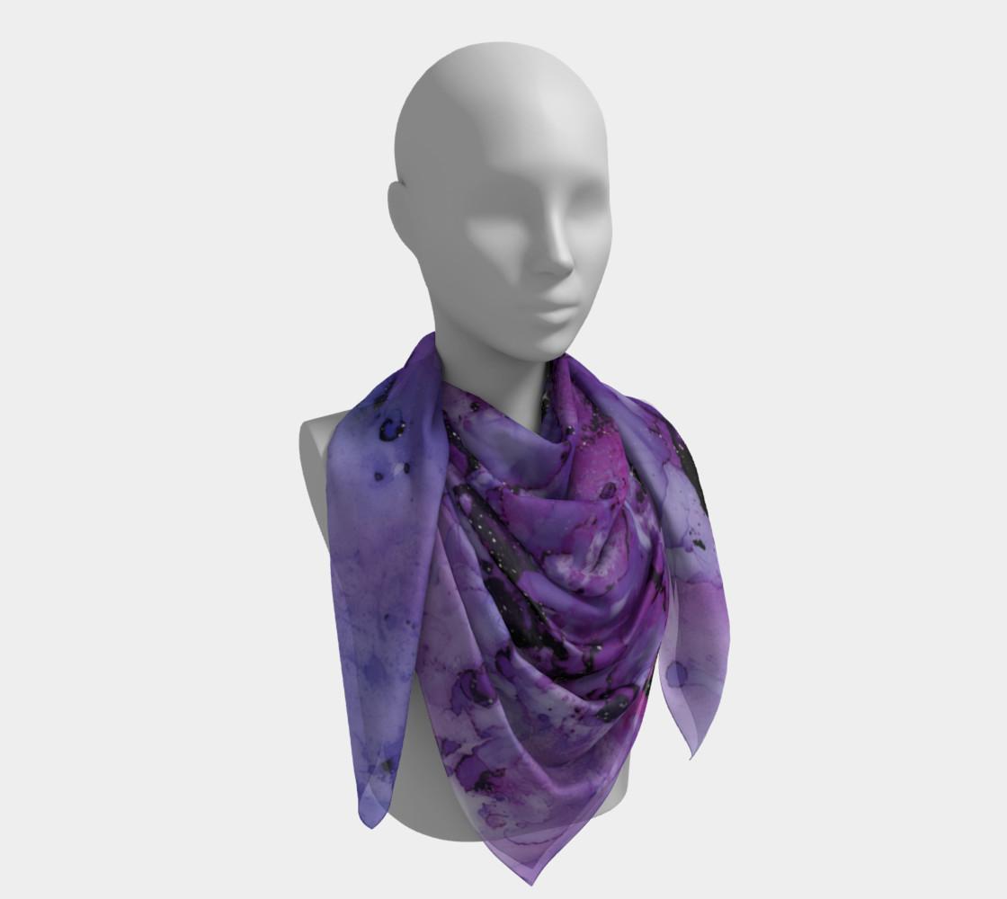 Watercolor Swirls L - Purple & Black,  Square Scarf preview #4