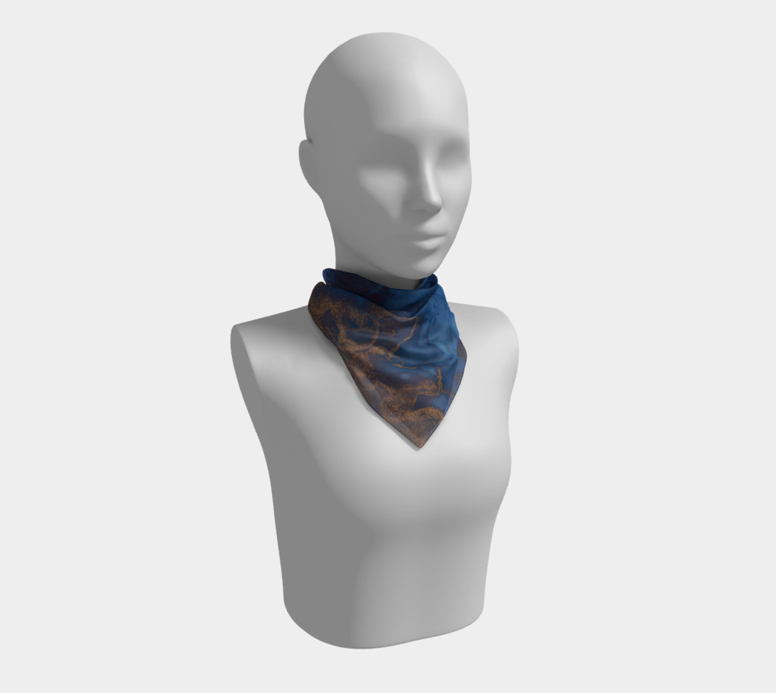 Watercolor Swirls N - Blue & Gold, Square Scarf preview #1