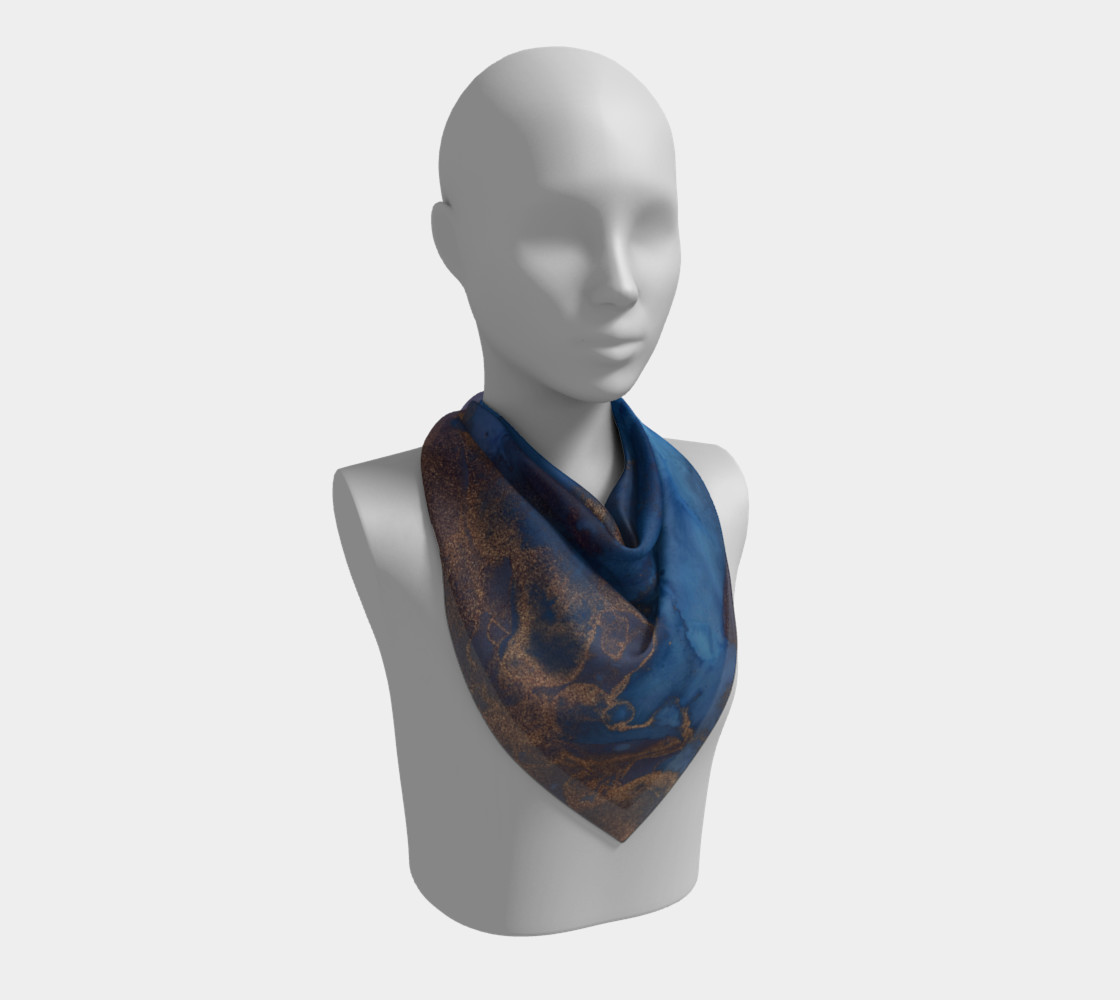 Watercolor Swirls N - Blue & Gold, Square Scarf preview #2