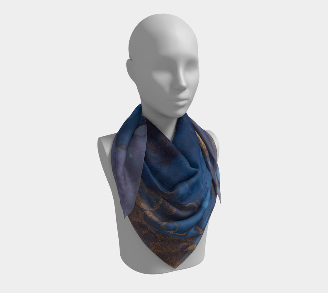 Watercolor Swirls N - Blue & Gold, Square Scarf preview #3