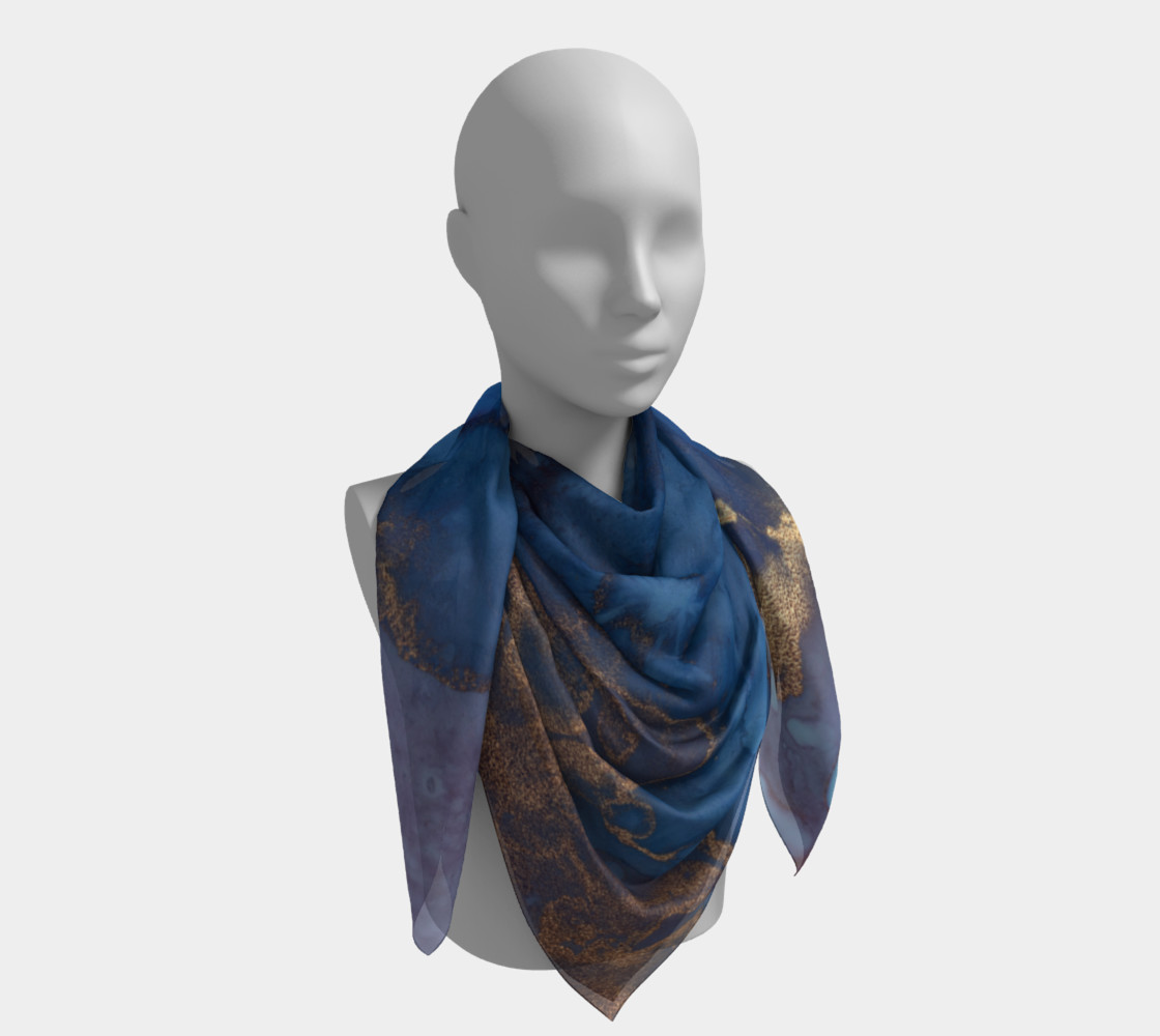 Watercolor Swirls N - Blue & Gold, Square Scarf preview #4