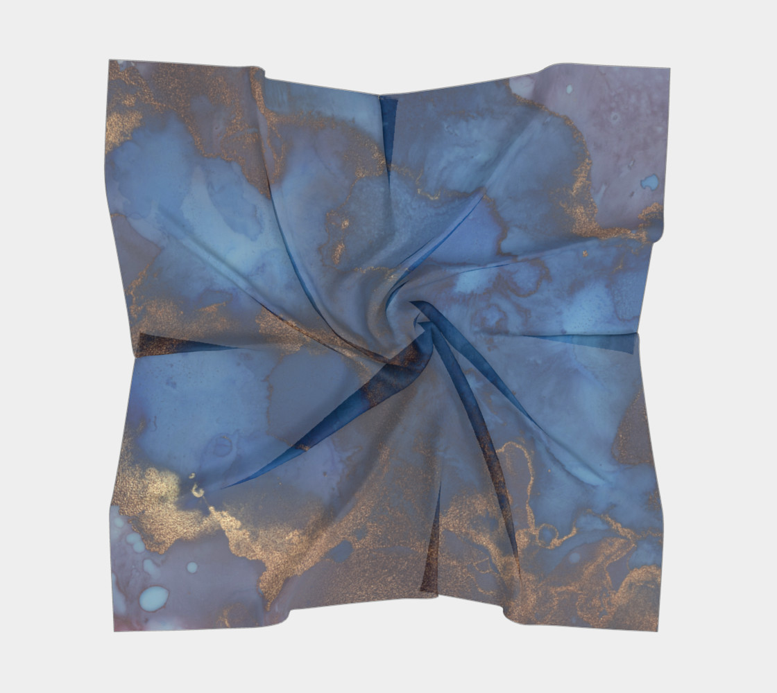 Watercolor Swirls N - Blue & Gold, Square Scarf preview #5