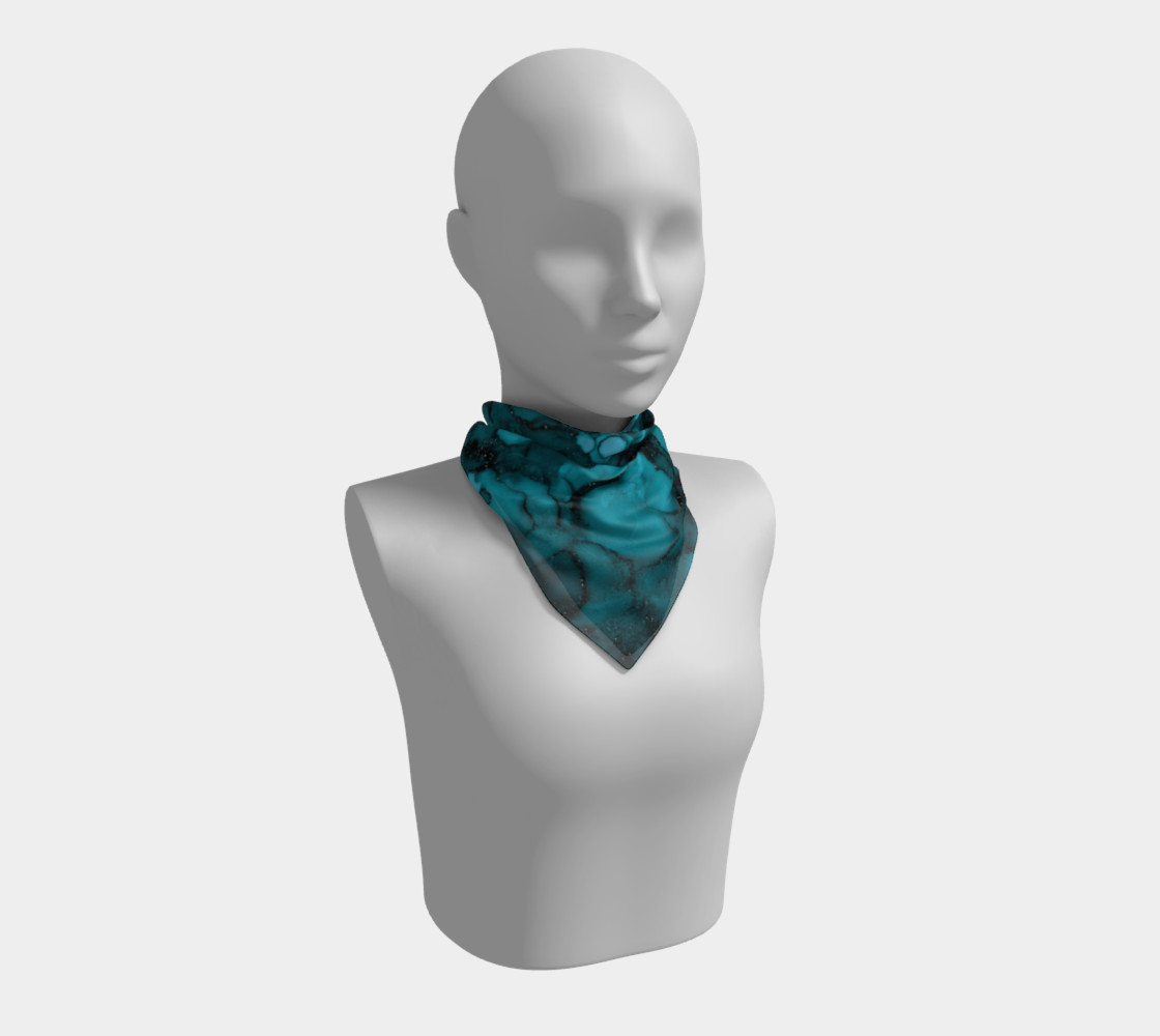 Watercolor Swirls O - Turquoise Splotches, Square Scarf preview #1