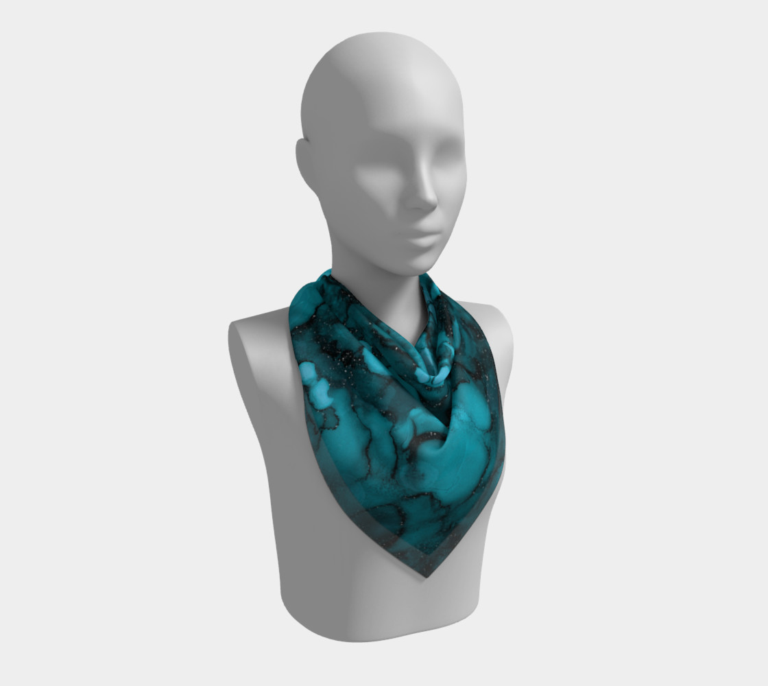 Watercolor Swirls O - Turquoise Splotches, Square Scarf preview #2