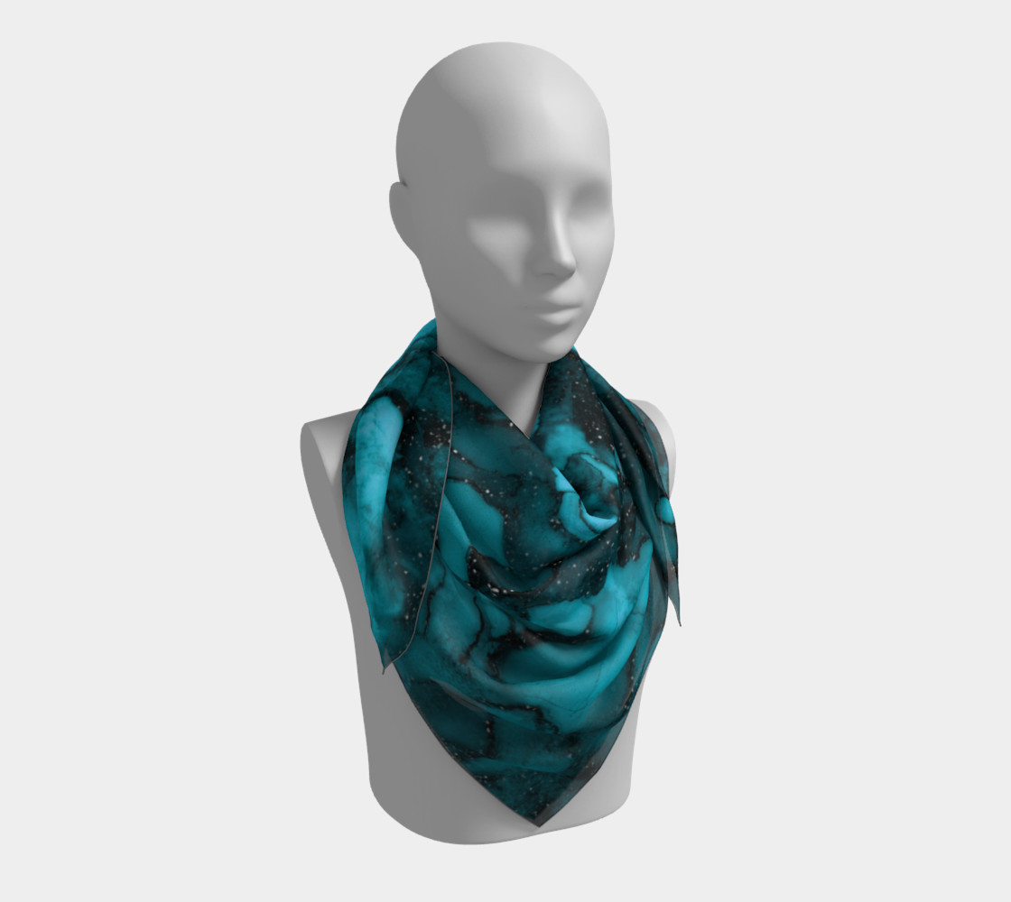 Watercolor Swirls O - Turquoise Splotches, Square Scarf preview #3