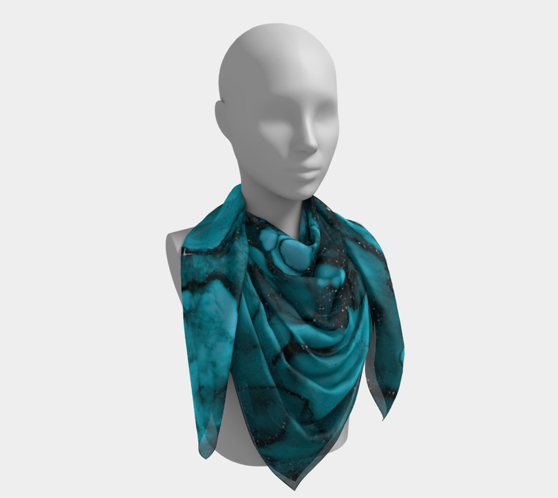 Watercolor Swirls O - Turquoise Splotches, Square Scarf preview #4