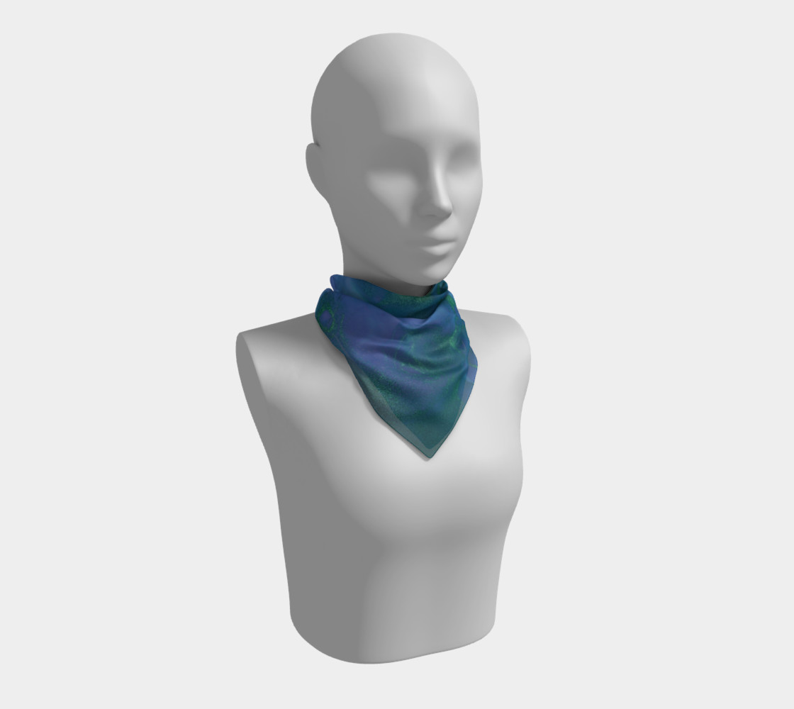 Watercolor Swirls P - Blues & Greens, Square Scarf preview #1