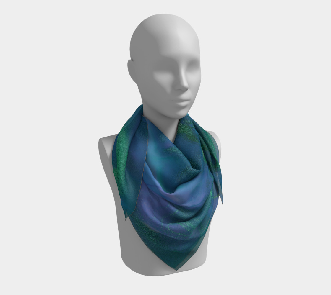 Watercolor Swirls P - Blues & Greens, Square Scarf preview #3