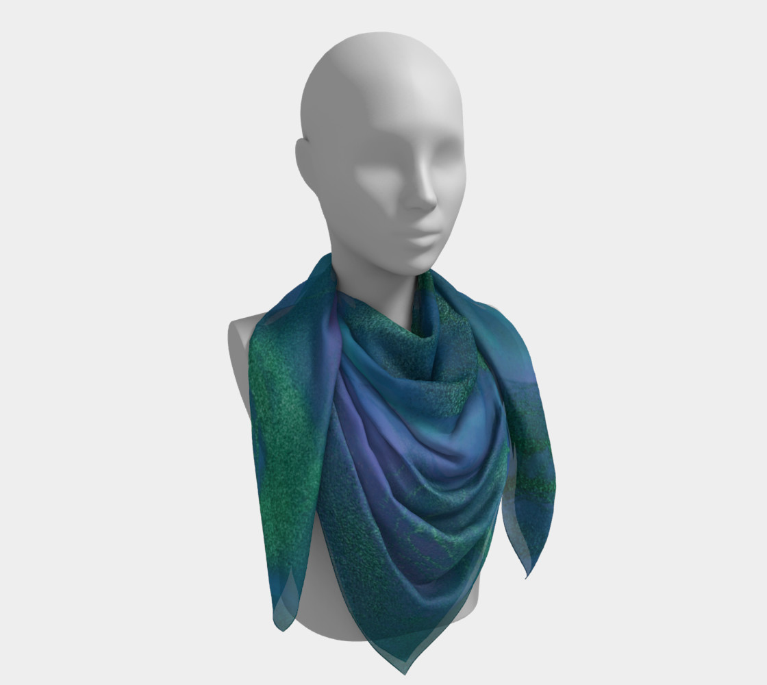 Watercolor Swirls P - Blues & Greens, Square Scarf preview #4