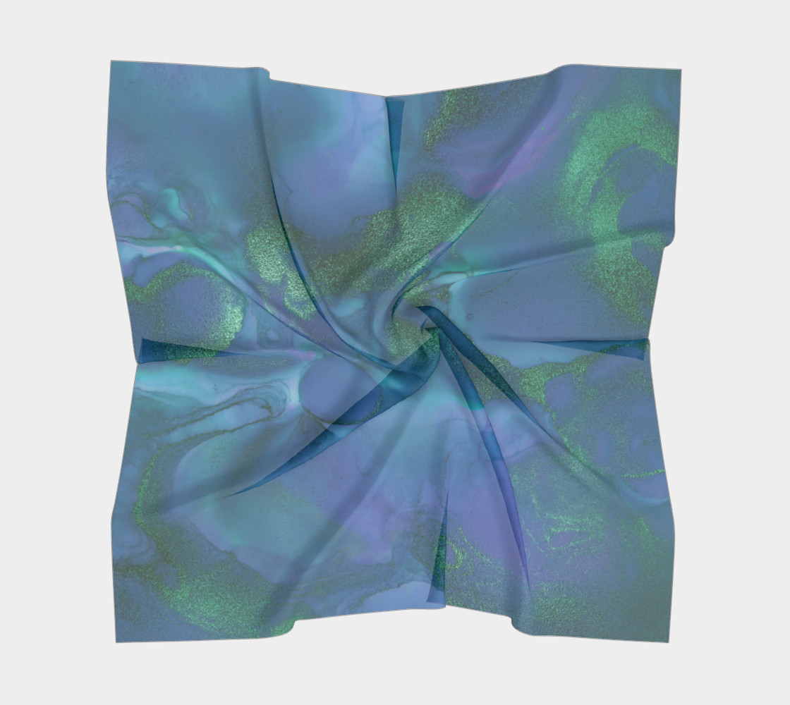 Watercolor Swirls P - Blues & Greens, Square Scarf preview #5