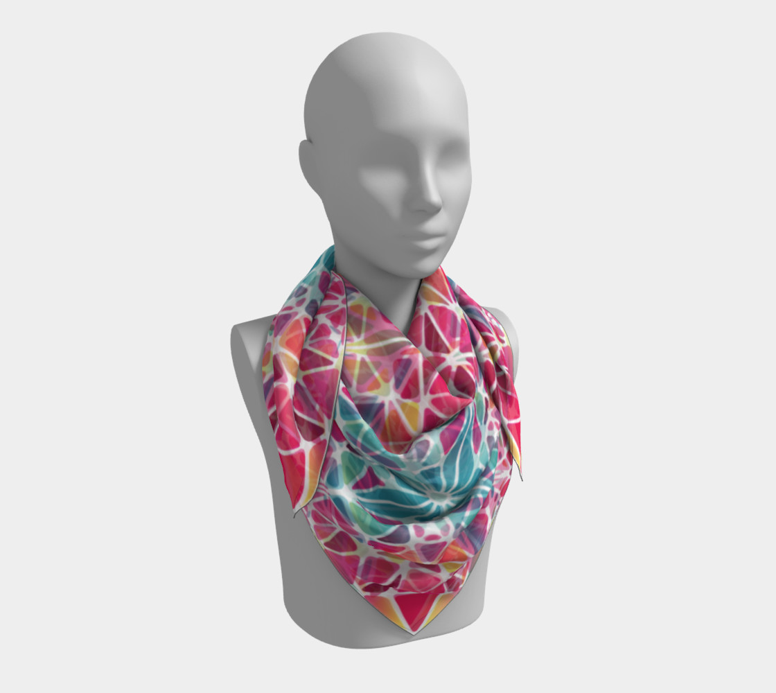 Pink & Blue Kaleidoscope Square Scarf preview #3