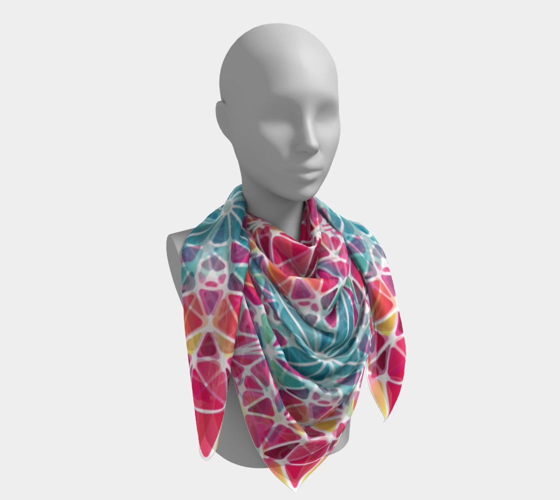 Pink & Blue Kaleidoscope Square Scarf preview #4