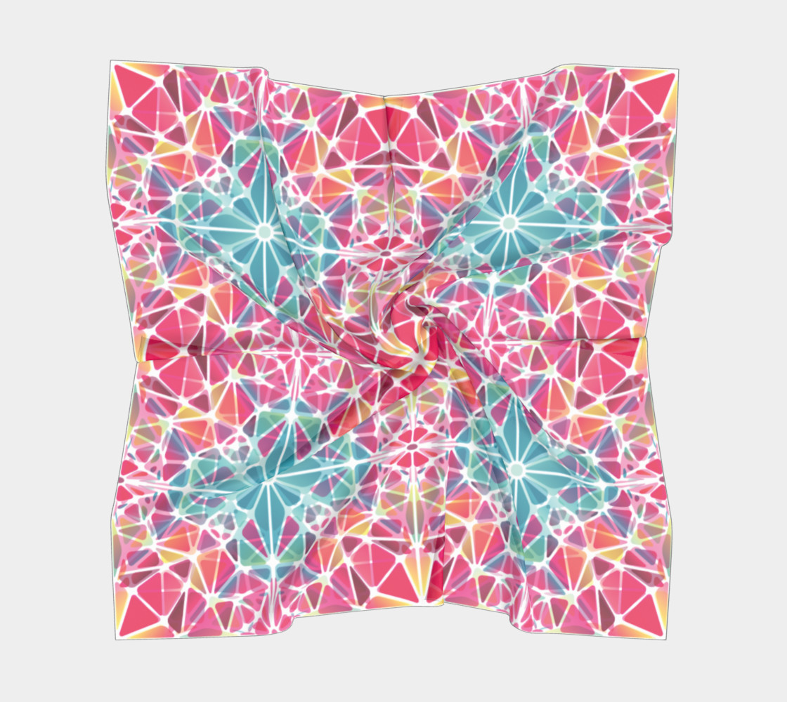 Pink & Blue Kaleidoscope Square Scarf preview #5