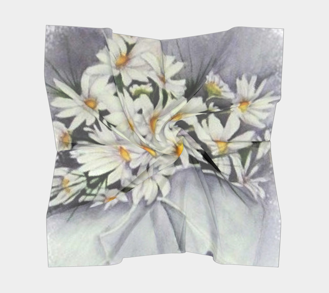 WHITE DAISY BOUQUET Scarf preview #5