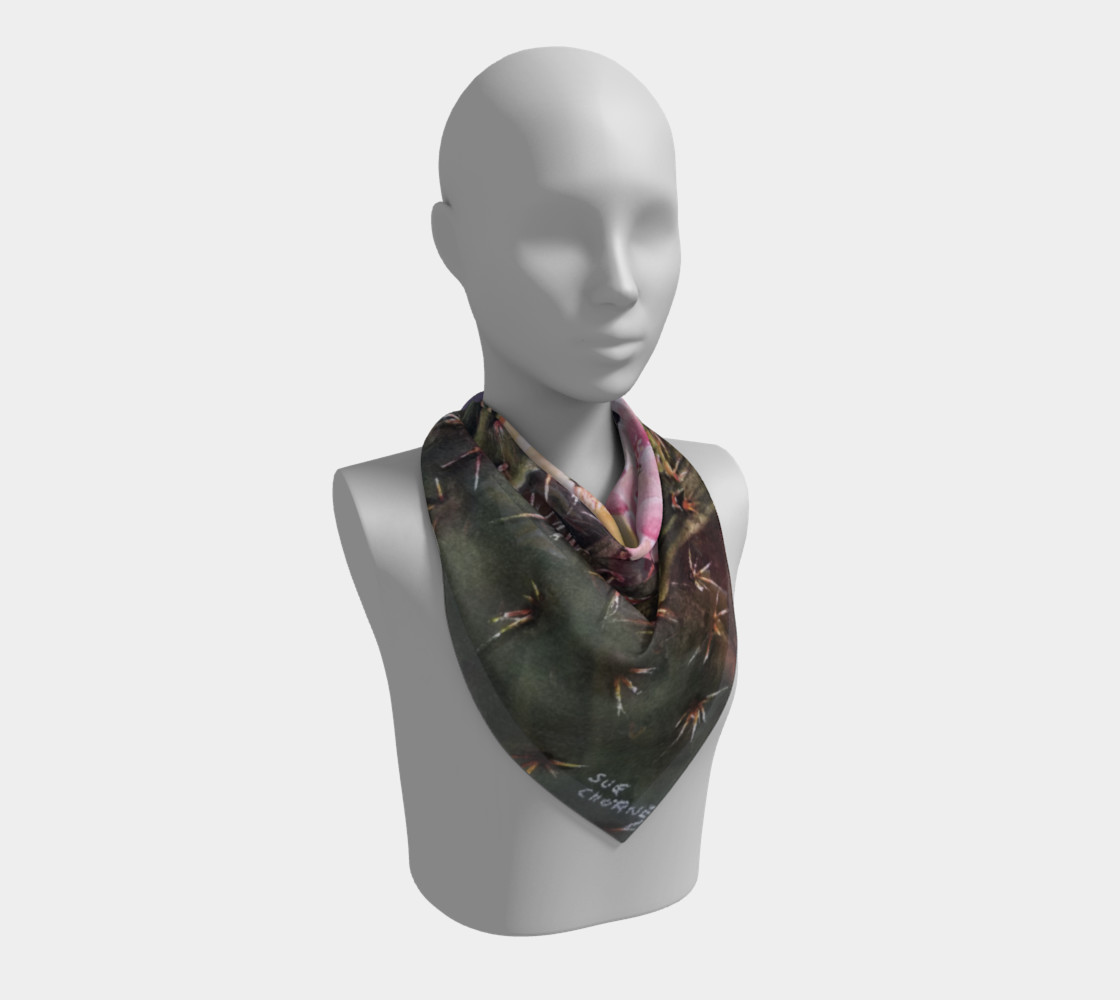 PINK YELLOW CACTUS Flowers Scarf preview #2