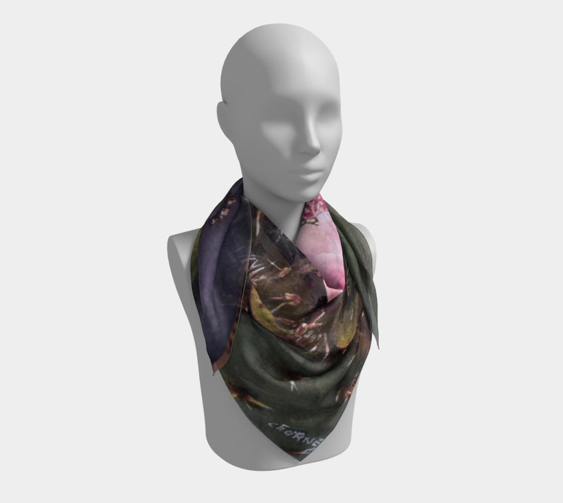 PINK YELLOW CACTUS Flowers Scarf preview #3