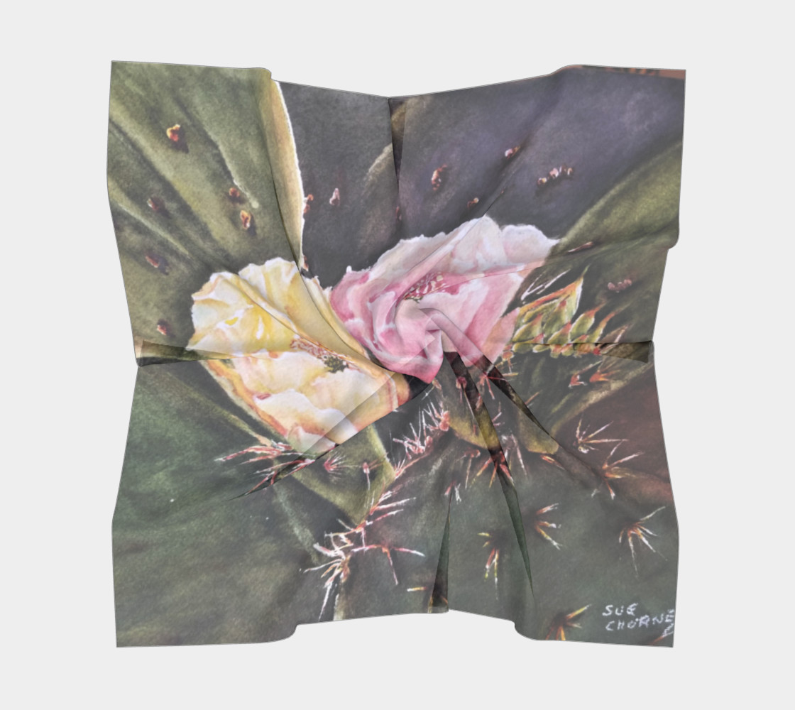 PINK YELLOW CACTUS Flowers Scarf preview #5