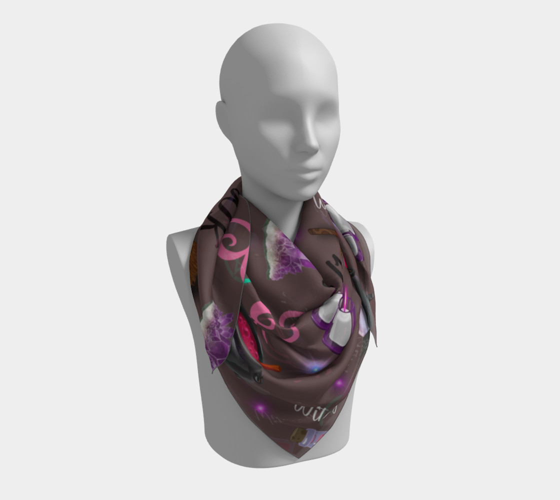 WK #ModernWitchLife Taupe Print Square Scarf preview #3