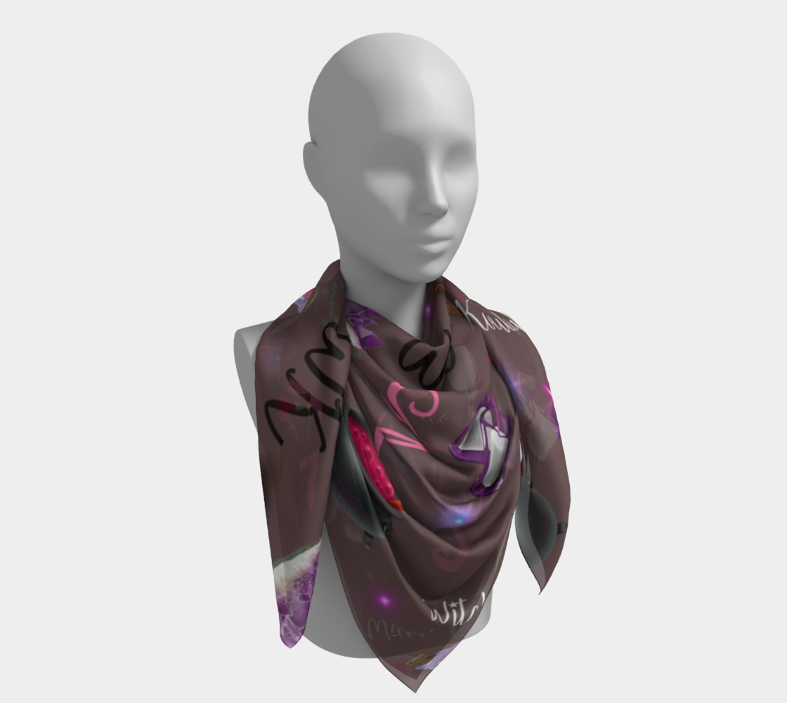 WK #ModernWitchLife Taupe Print Square Scarf preview #4