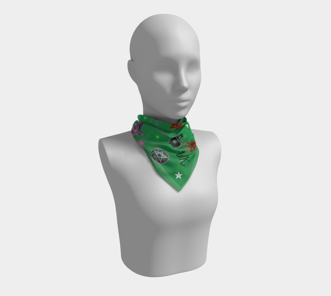 WK #ModernWitchLife Green Print Square Scarf preview #1