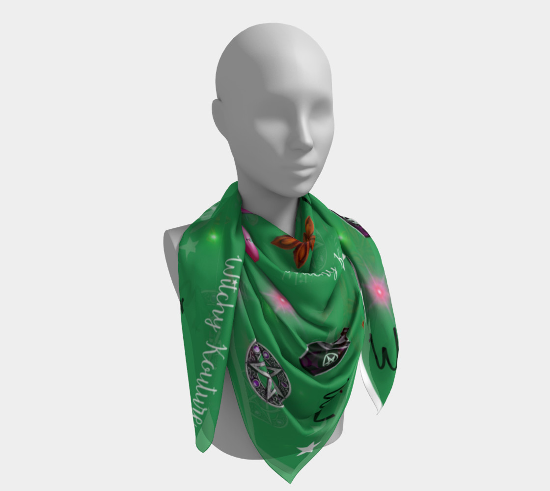 WK #ModernWitchLife Green Print Square Scarf preview #4