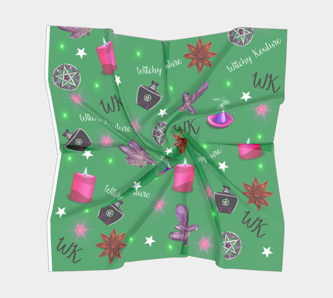 WK #ModernWitchLife Green Print Square Scarf preview #5
