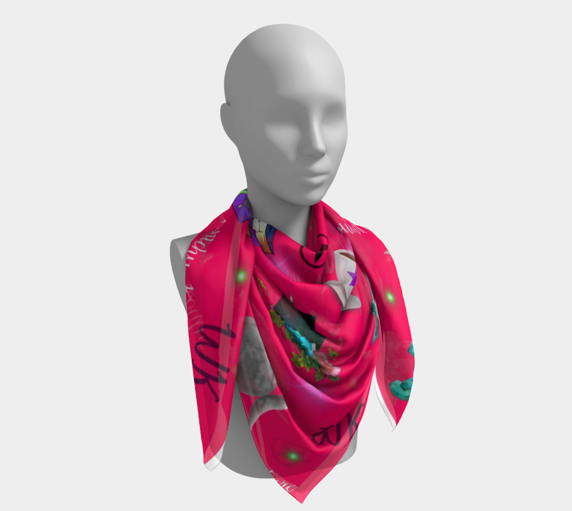 WK #ModernWitchLife Pink Print Square Scarf preview #4
