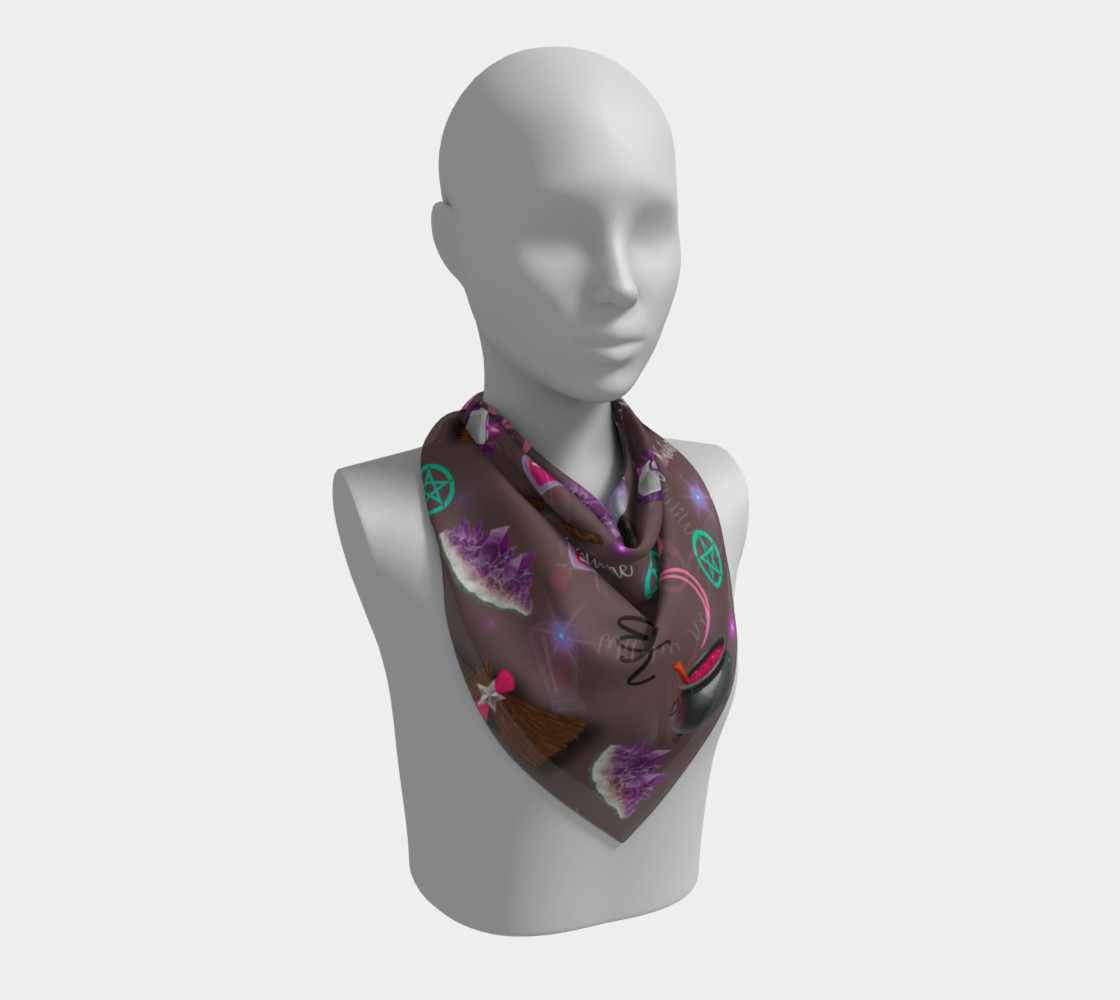 WK #ModernWitchLife Taupe Print Big Square Silk Scarf preview #2