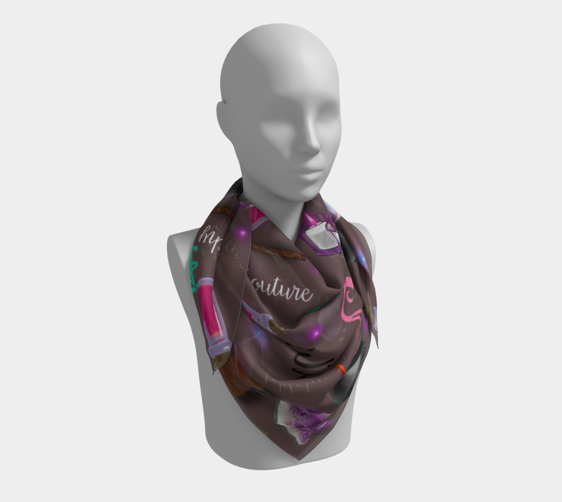 WK #ModernWitchLife Taupe Print Big Square Silk Scarf preview #3