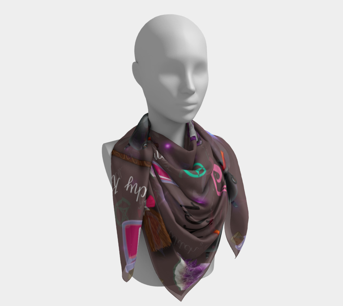 WK #ModernWitchLife Taupe Print Big Square Silk Scarf preview #4