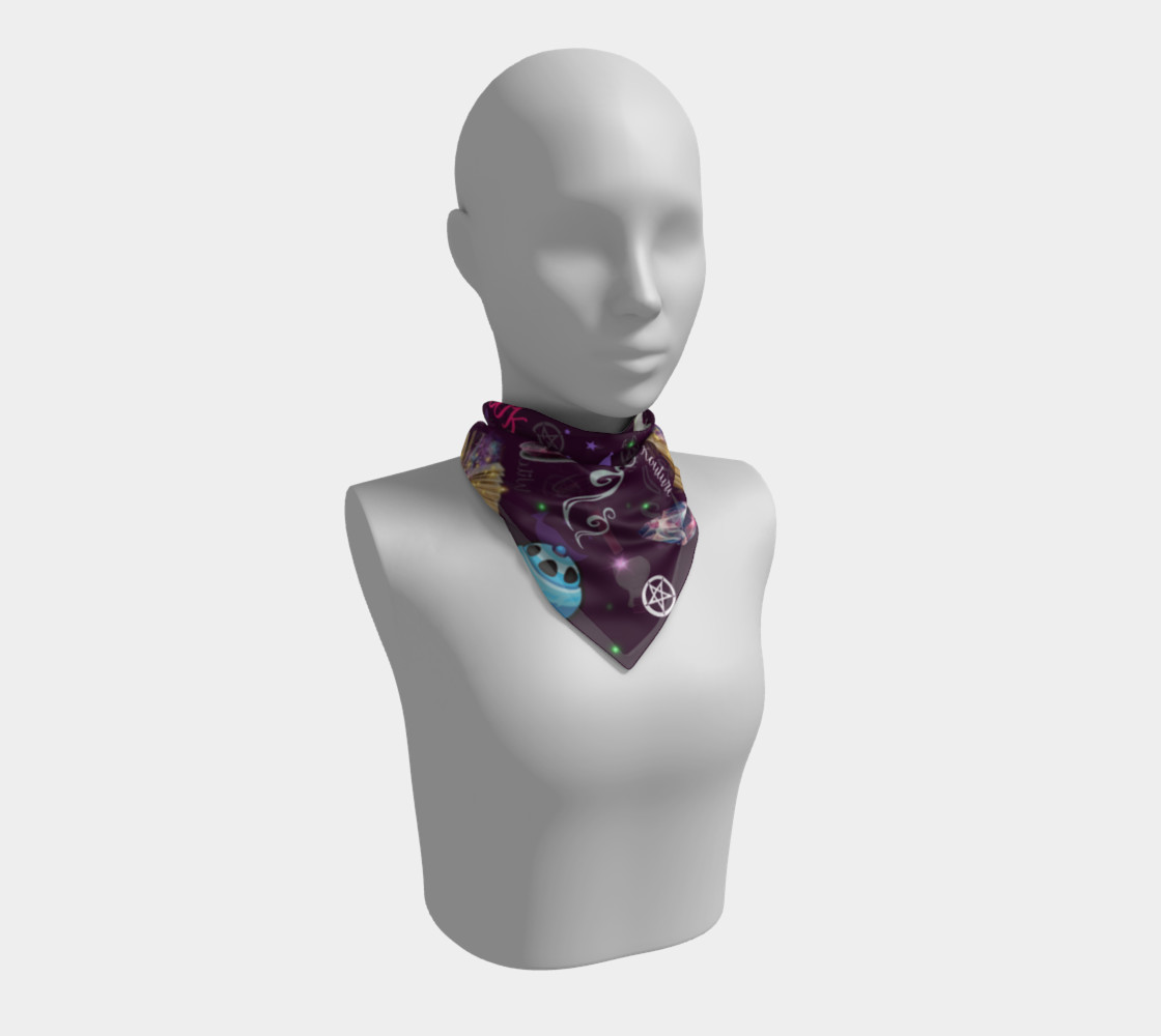 WK #ModernWitchLife Purple Print Big Square Silk Scarf Miniature #2