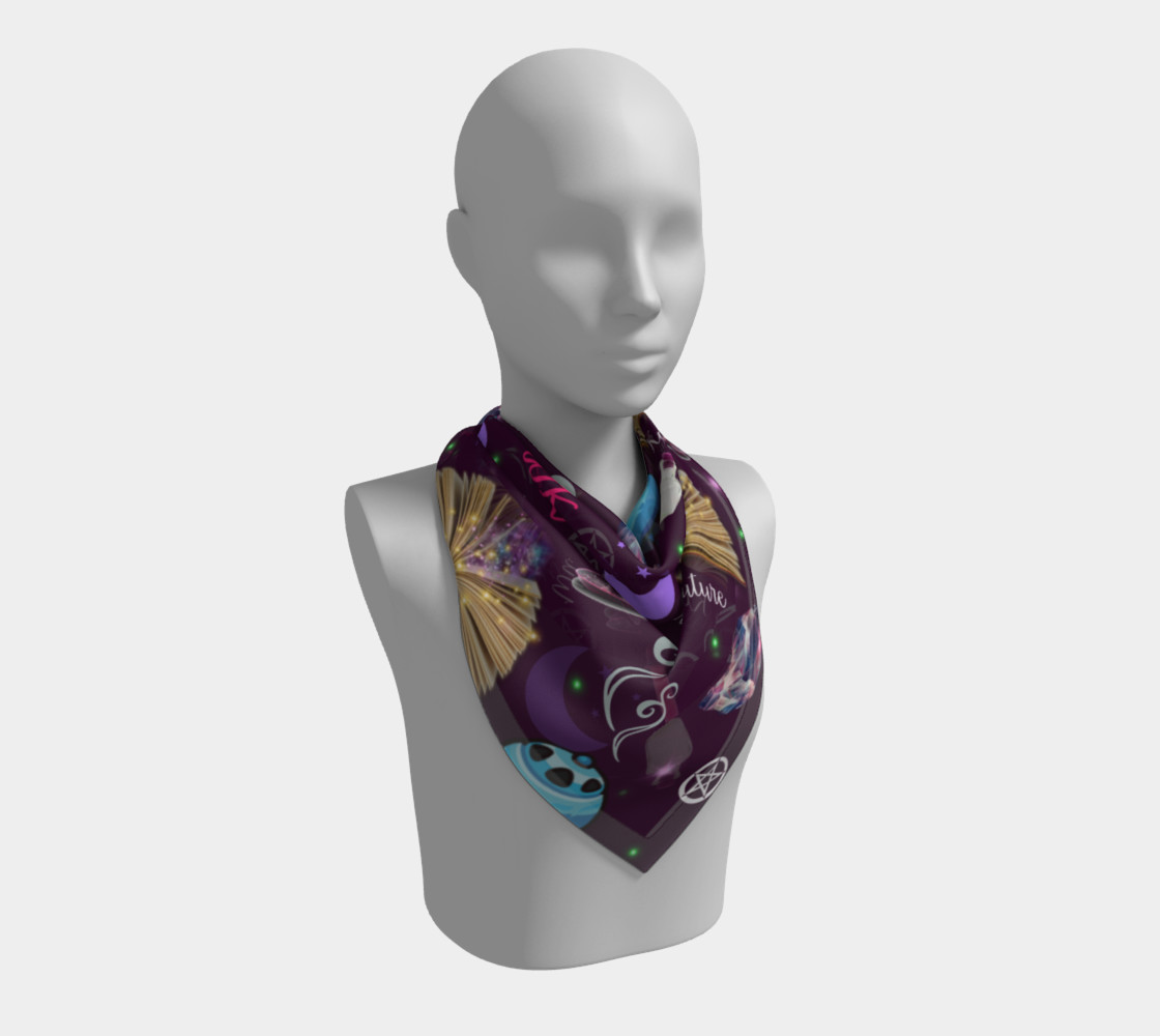 WK #ModernWitchLife Purple Print Big Square Silk Scarf Miniature #3