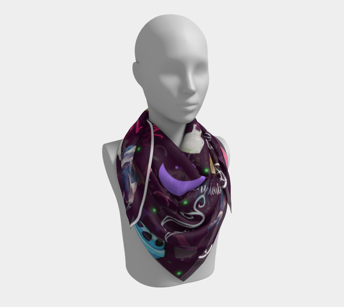 WK #ModernWitchLife Purple Print Big Square Silk Scarf Miniature #4