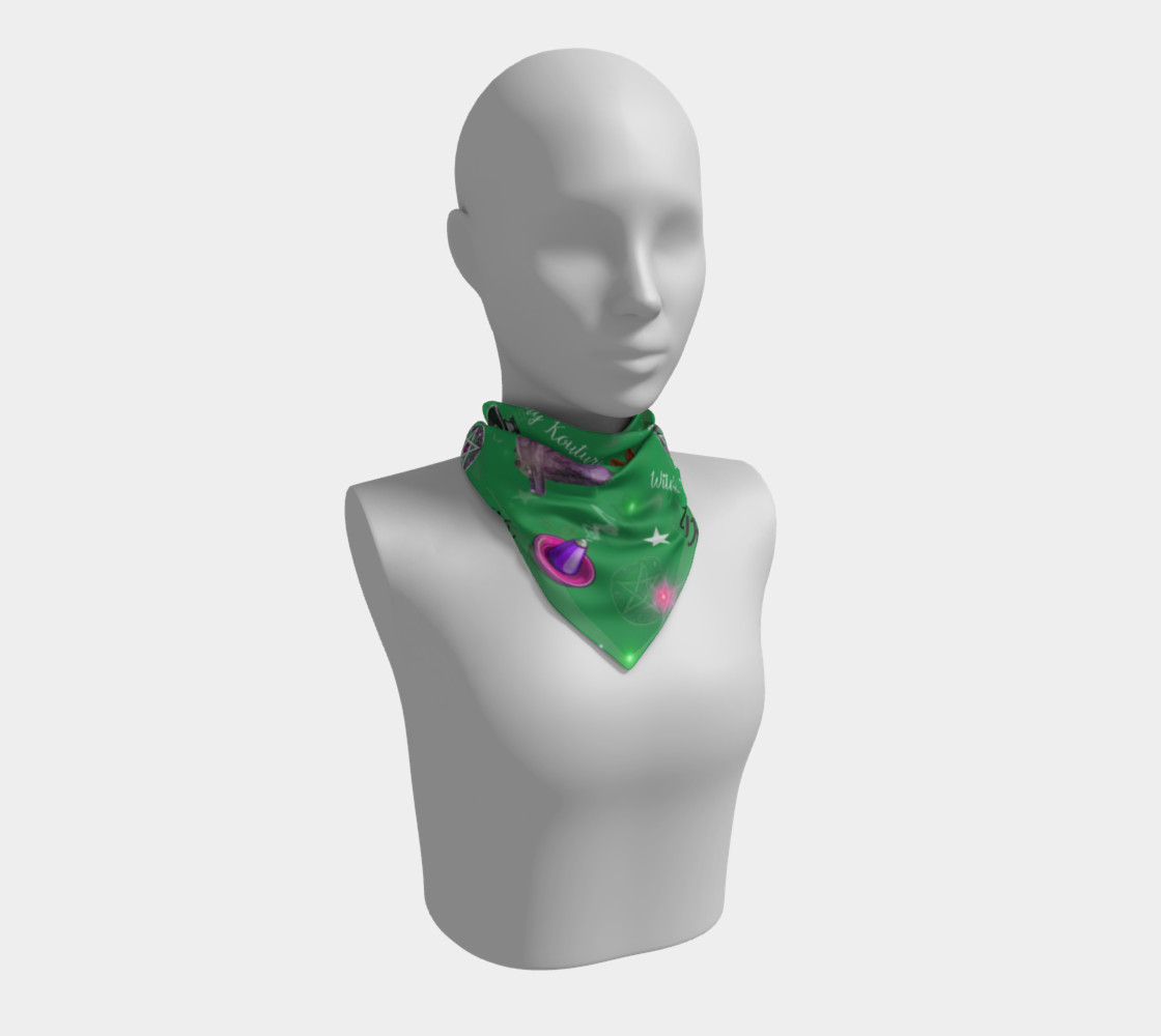 WK #ModernWitchLife Green Print Big Square Silk Scarf preview #1