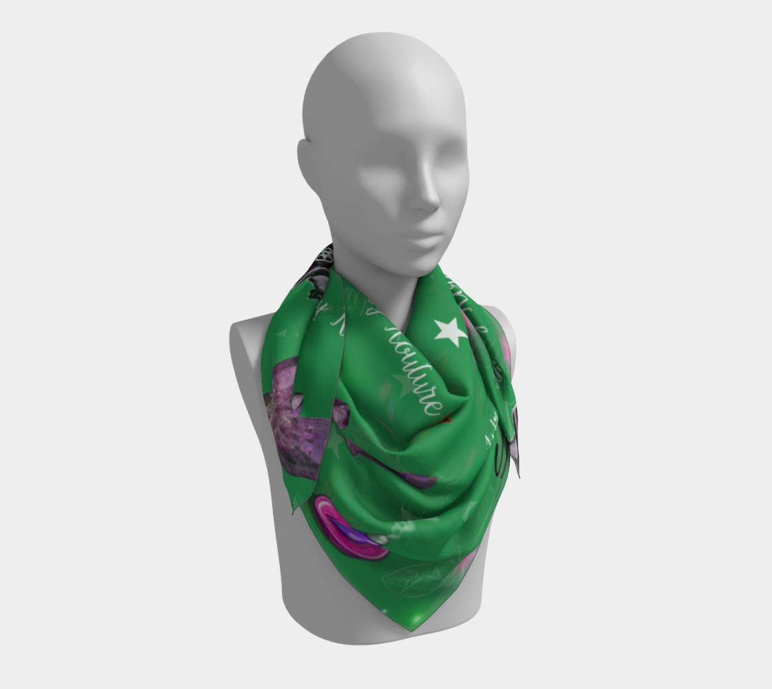 WK #ModernWitchLife Green Print Big Square Silk Scarf preview #3